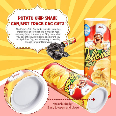 IUU Funny Magic Potato Chip Cans Snake Scary Fries Toys April Fool Day Halloween Party Decoration Fun Toys Prank Toy