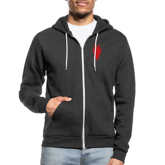 Krampus flock silhouette Unisex Fleece Zip Hoodie - charcoal gray