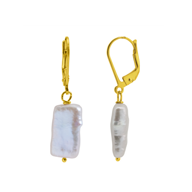 PENDIENTES NATURAL PEARL RECTANGLE ORO