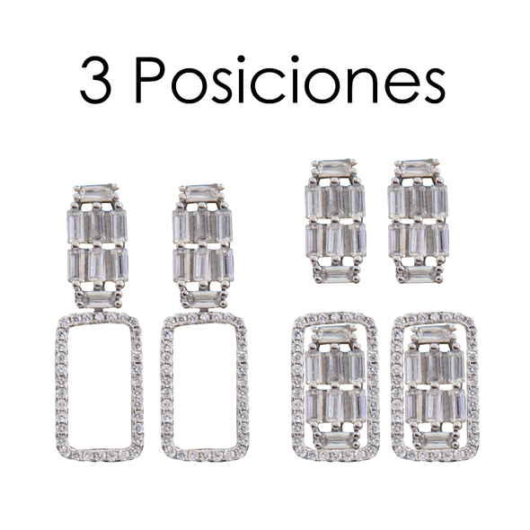 PENDIENTES THREE POSITION RECTANGLE