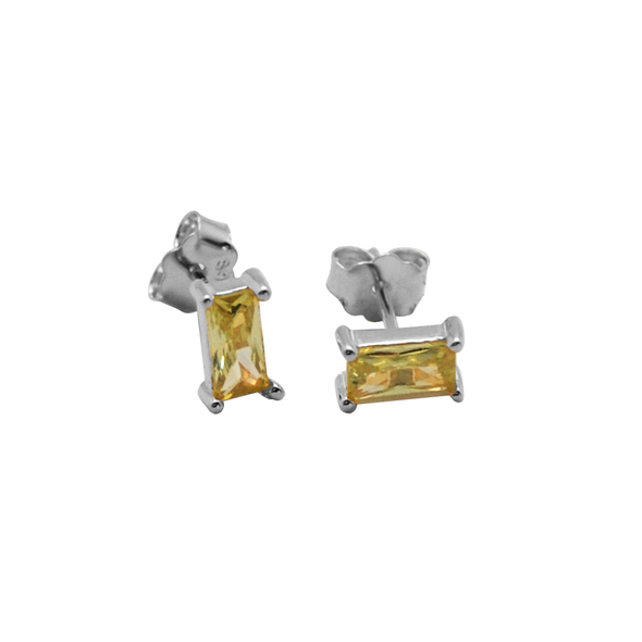 PENDIENTES RECTANGLE YELLOW PLATA