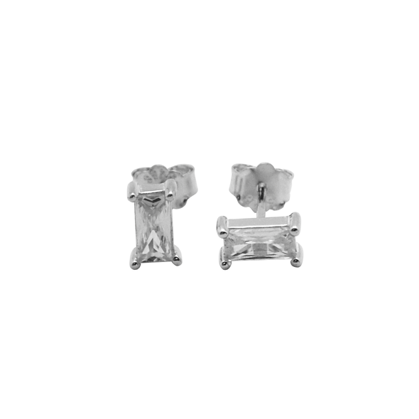 PENDIENTES RECTANGLE WHITE PLATA