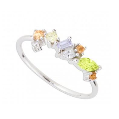 ANILLO MULTI COLORS 1 PLATA