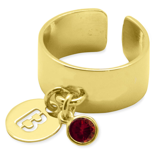 ANILLO BIG STONE LETTER GOLD
