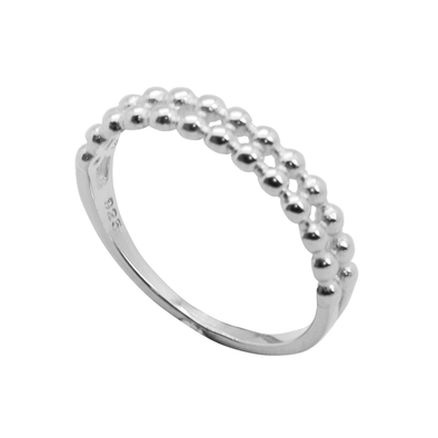 ANILLO DOUBLE DOTS PLATA