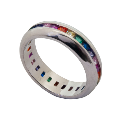 ANILLO LINE COLORS PLATA