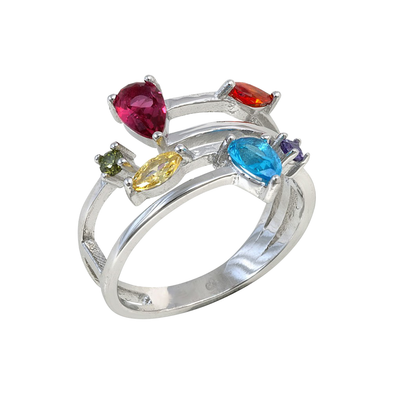 ANILLO STONE COLORS PLATA