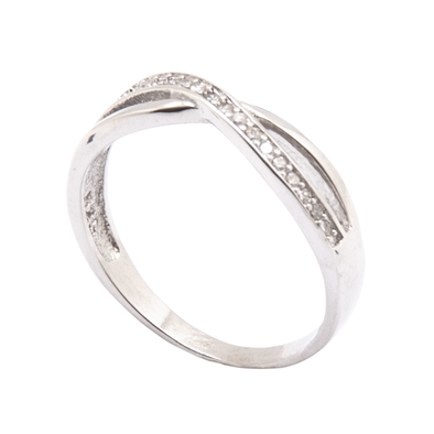 ANILLO CROSSED LINES SILVER