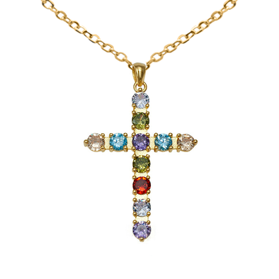 COLGANTE RAINBOW CROSS ORO