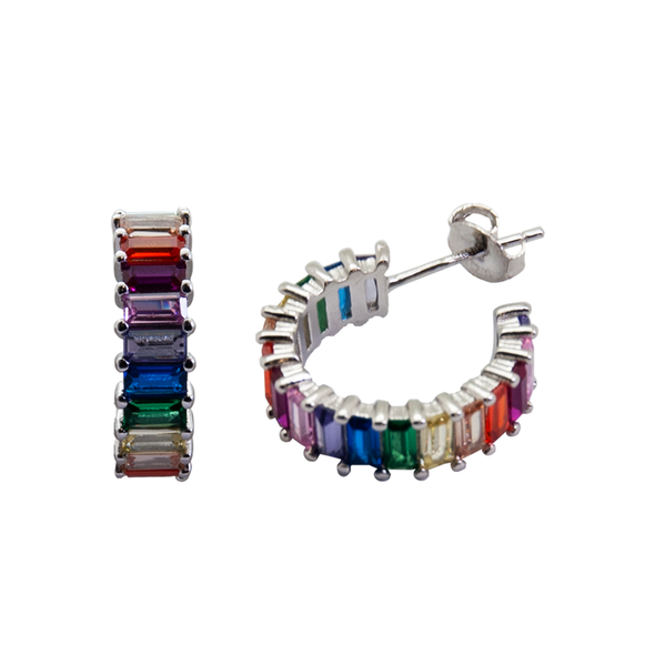 PENDIENTES COLOR MIX PLATA