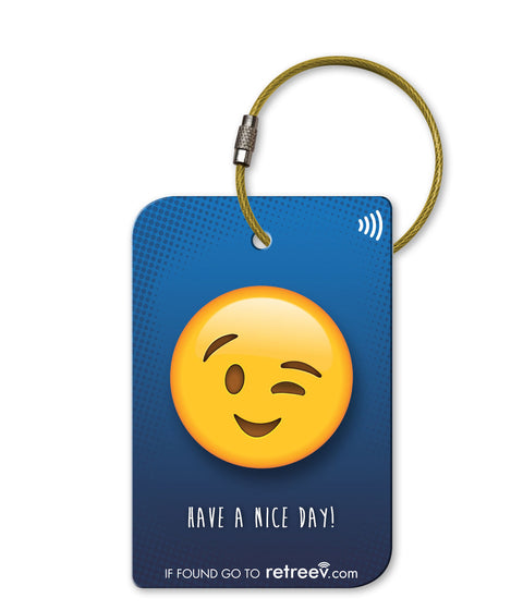 retreev SMART Bag / Luggage Tag - Emoji Wink