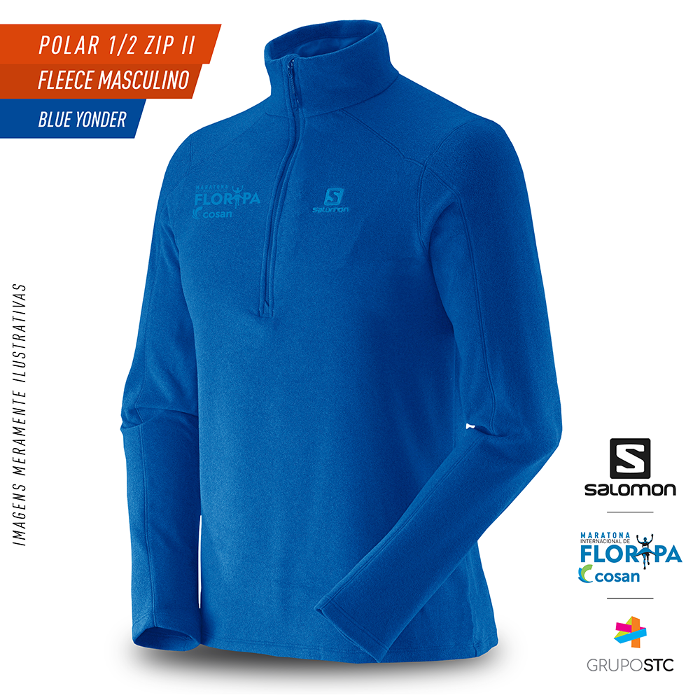 Fleece Polar 1/2 Zip Salomon Blue Yonder Masculino
