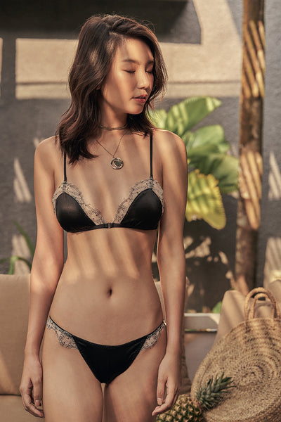 Astrid Silk Triangle Padded Bralette by perk by kate