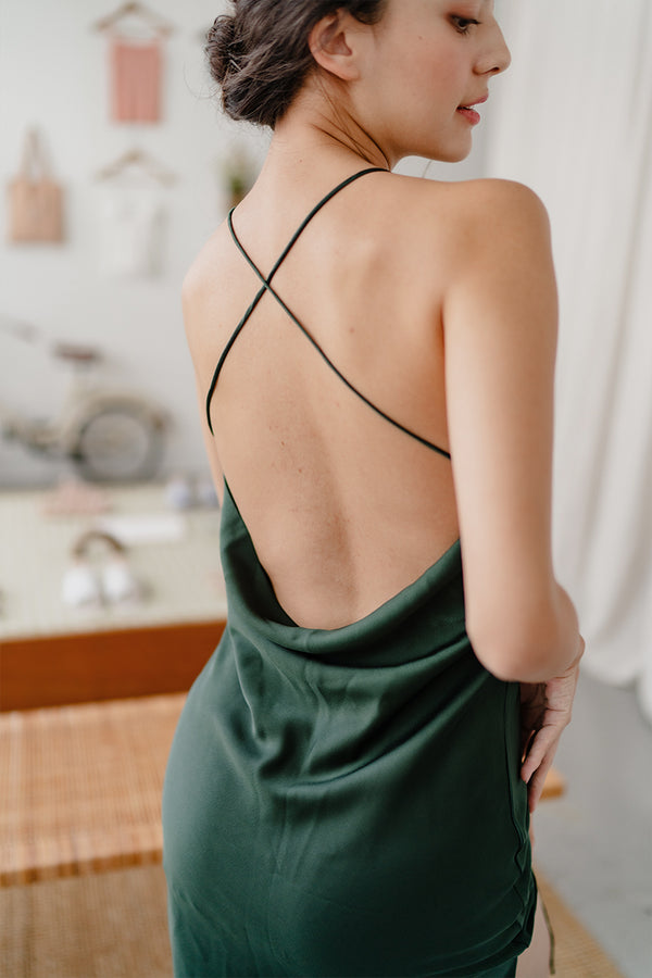 Lucie Brushed Satin Low-Back Dress by perk by kate