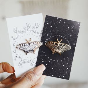 Butterfly Enamel Pin (White and Gold)