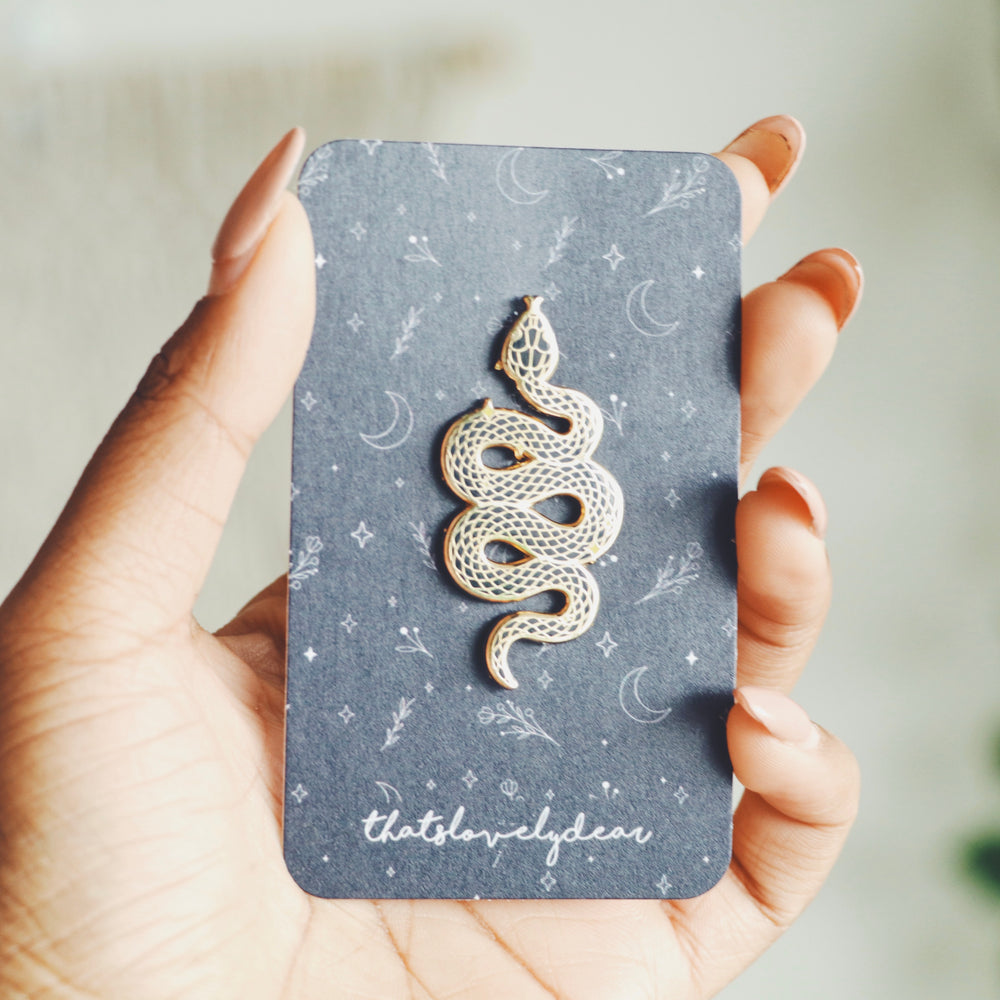 Snake Enamel Pin, (Black & Gold)
