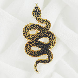 Load image into Gallery viewer, Snake Enamel Pin, (Black & Gold)