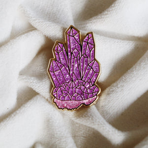 Amethyst Crystal Pin