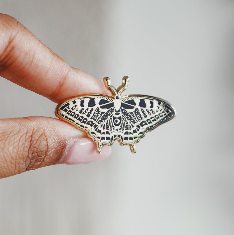 Butterfly Enamel Pin (Black and Gold)