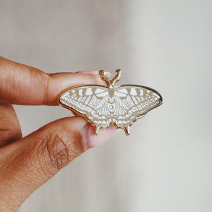 Load image into Gallery viewer, Butterfly Enamel Pin (White and Gold)