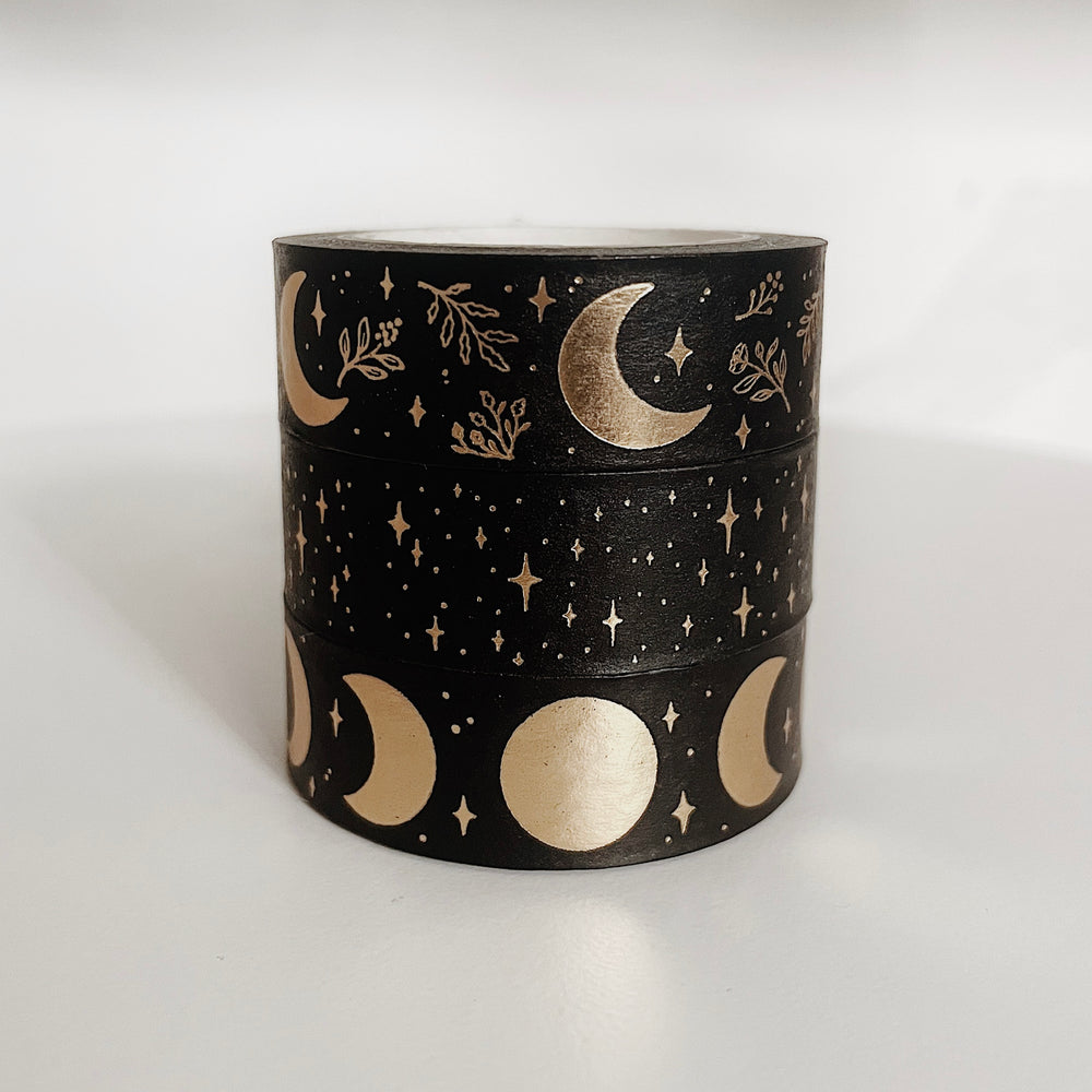 Moons & Stars Washi Tape Set (Black And Gold)