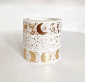 Moons & Stars Washi Tape Set (White And Gold)