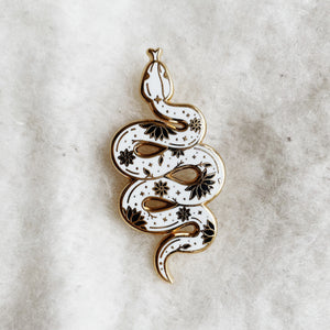 Load image into Gallery viewer, Floral Celestial Snake (White & Gold)