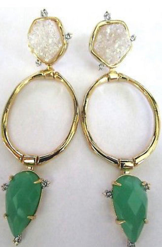 ALEXIS BITTAR Geode Green Jade Crystal Hoop Earrings