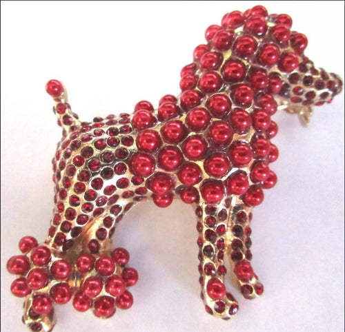 MySoulRepair Dolce Red Pearl Poodle High Fashion Unisex Lapel Pin