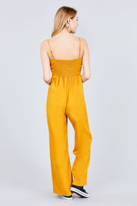 Darling Marigold Yellow Button Cami Linen Jumpsuit
