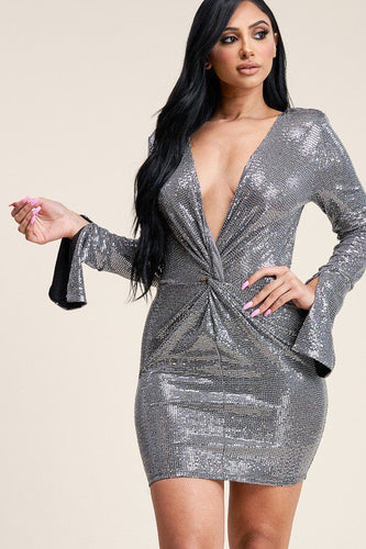 Metallic Bell Sleeve Short Dress, Bodycon