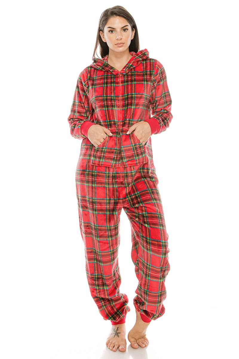 Red Plaid Flannel Onsie Jumpsuit Pj  Pajamas W/ Hoodie