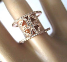 Load image into Gallery viewer, Folli Follie Heart4Heart Rose Gold and Ice Crystals Double Band Ring