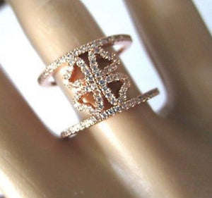 Folli Follie Heart4Heart Rose Gold and Ice Crystals Double Band Ring