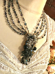 STANLEY HAGLER Snake like Smokey Crystal & Rhinestone Necklace