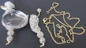 ALEXIS BITTAR Crystal Lucite Jelly Belly French POODLE Runway Statement Necklace