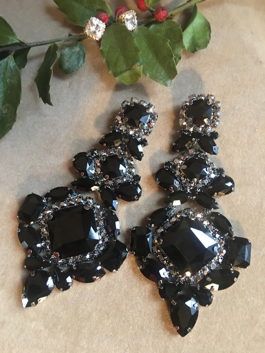 Huge Gothic Black Gem & Rhinestone Runway Statement Earrings, Victorian Revival Glamour Jewelry, Burlesque