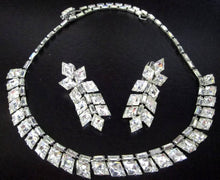 Load image into Gallery viewer, Vintage Baguette Rhinestone Necklace & Earring Set