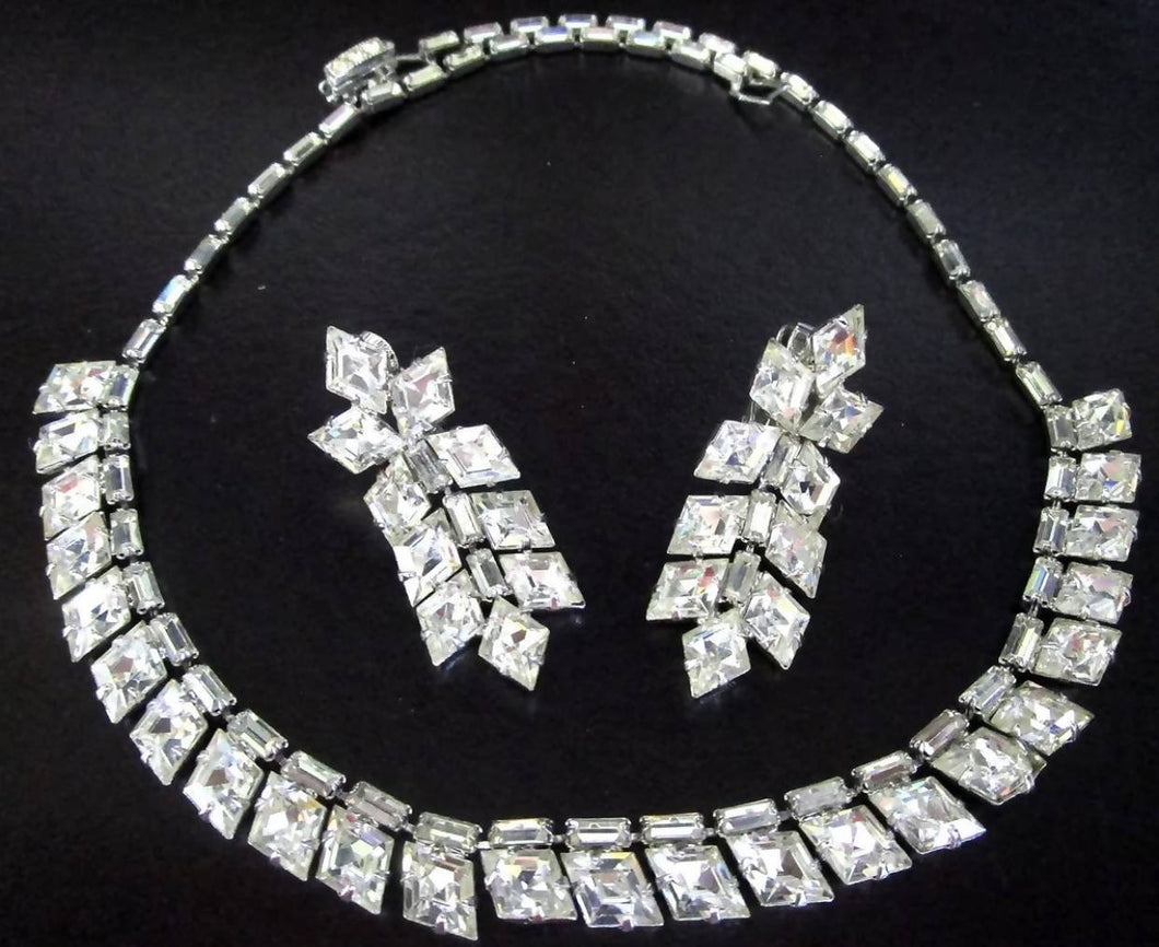 Vintage Baguette Rhinestone Necklace & Earring Set