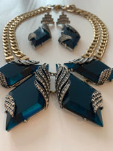 Load image into Gallery viewer, Teal Art Deco Cocktail Jewelry Set, Mesmerizing Sea Blue Lucite & ICE Rhinestones Choker and Deco Dangle Statement Earrings