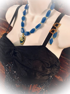 Blue Agate & Peridot Necklace has Matching Drop Earrings, Capers Creative By Chris Capers