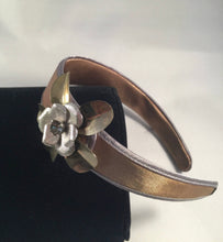 Load image into Gallery viewer, Golden Taupe Satin & Vintage Jewelry Luna Vintage Designs Headband