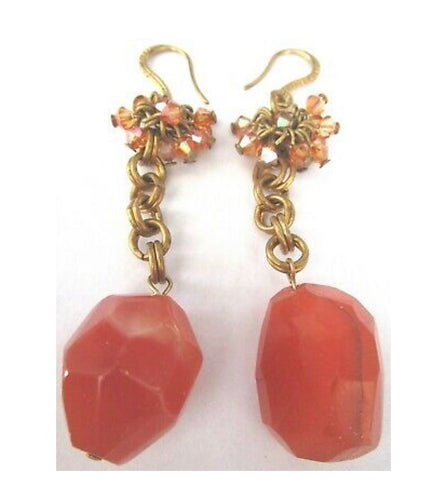 Gay Isber Ornate Carnelian Boho Gypsy Statement Earrings