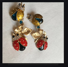 Load image into Gallery viewer, Darling Enamel Ladybug Dangles, Runway Glamour Statement Earrings