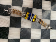 Load image into Gallery viewer, Blue and Yellow Art Deco Revival Statement Bracelet