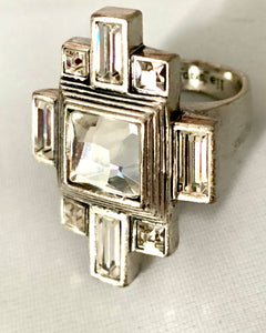 Etruscan Art Deco Style Ice Crystal Cocktail Ring Bling Ring