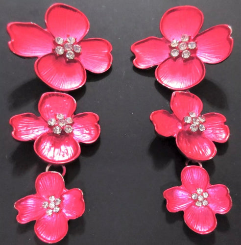 Cascading Metallic Fushsia Magnolia Floral Runway Statement Earrings