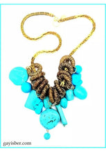 Load image into Gallery viewer, Gay Isber  Designer Genuine Turquoise Stone Statement Necklace