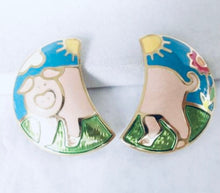 Load image into Gallery viewer, Vintage Signed Designer Edgar Berebi Enamel Pig Earrings