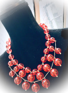 Pools of Light Retro Pink Bubble Statement Necklace